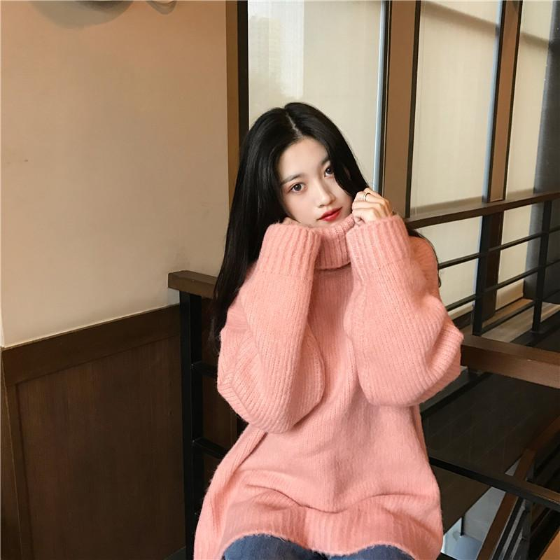 itGirl Shop KNIT RIBBED HIGH NECK WARM OVERSIZE SWEATER
