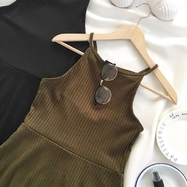 itGirl Shop KNIT SUMMER HALTER ARMY GREEN BLACK DRESS Aesthetic Apparel, Tumblr Clothes, Soft Grunge, Pastel goth, Harajuku fashion. Korean and Japan Style looks