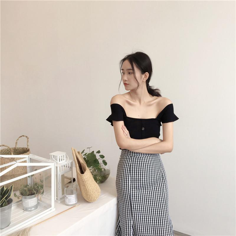 itGirl Shop KNIT WAVY SHOULDERS ELEGANT FRON BUTTONS TOP