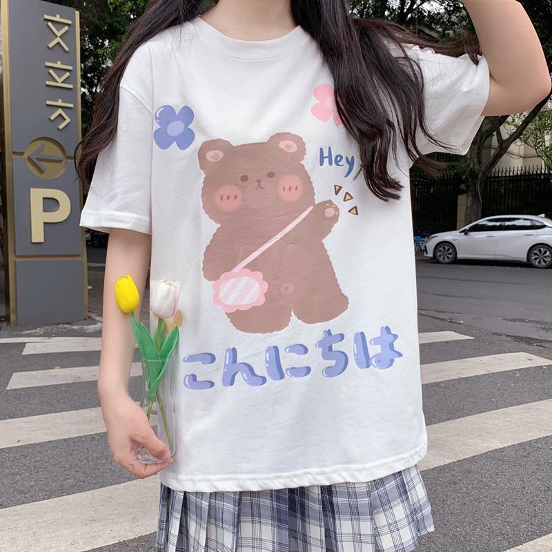 itGirl Shop KONNICHIWA CUTE BEAR PRINT LOOSE BLACK WHITE T-SHIRT
