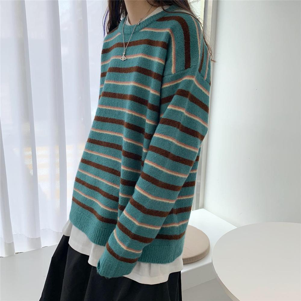 itGirl Shop KOREAN AESTHETIC ROUND NECK STRIPED KNITTED SWEATER