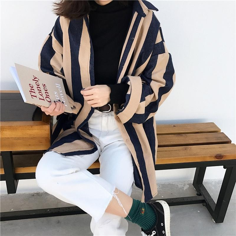 itGirl Shop KOREAN AESTHETIC VERTICAL STRIPES LONG SLEEVE SHIRT
