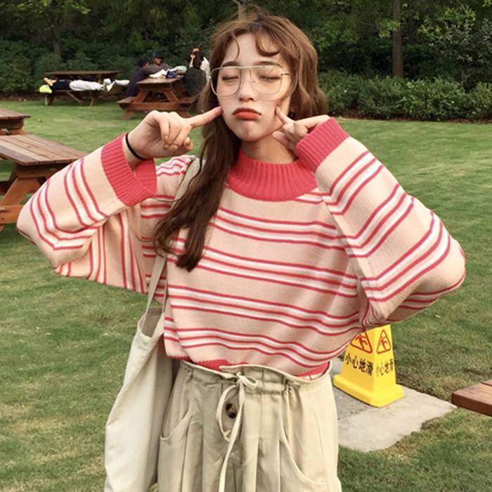 itGirl Shop KOREAN FASHION PINK RED STRAWBERRY STRIPES KNIT SWEATER Aesthetic Apparel, Tumblr Clothes, Soft Grunge, Pastel goth, Harajuku fashion. Korean and Japan Style looks