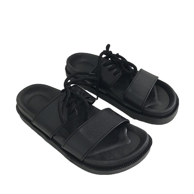 itGirl Shop LACE UP BLACK PU SUMMER FLAT RUBBER SANDALS