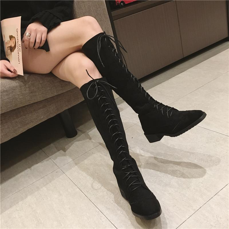 itGirl Shop LACE UP SQUARE HEEL OVER KNEE FLATS BOOTS