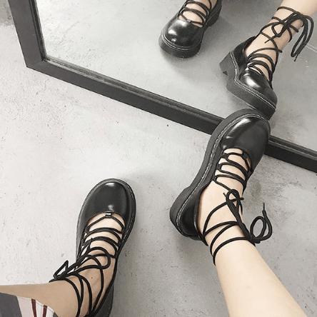 itGirl Shop LACEUP BLACK LEATHER CLOSED TOE FLAT SANDALS