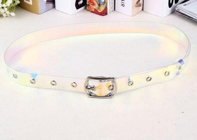 itGirl Shop LASER RUBBER TRANSPARENT HOLOGRAPHIC BELT