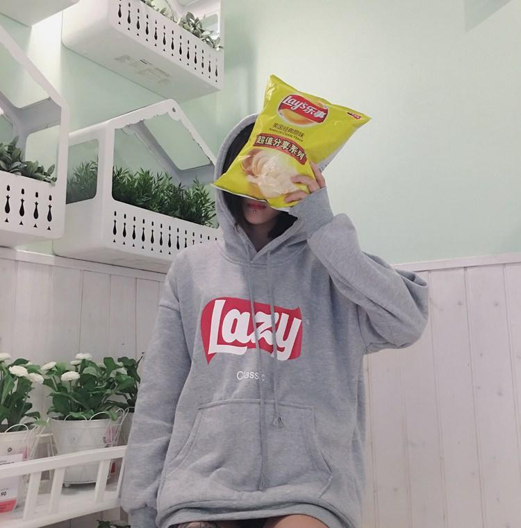 itGirl Shop LAZY CRISPS SOUR CREME ONION YELLOW GRAY HOODIE LONG SLEEVE