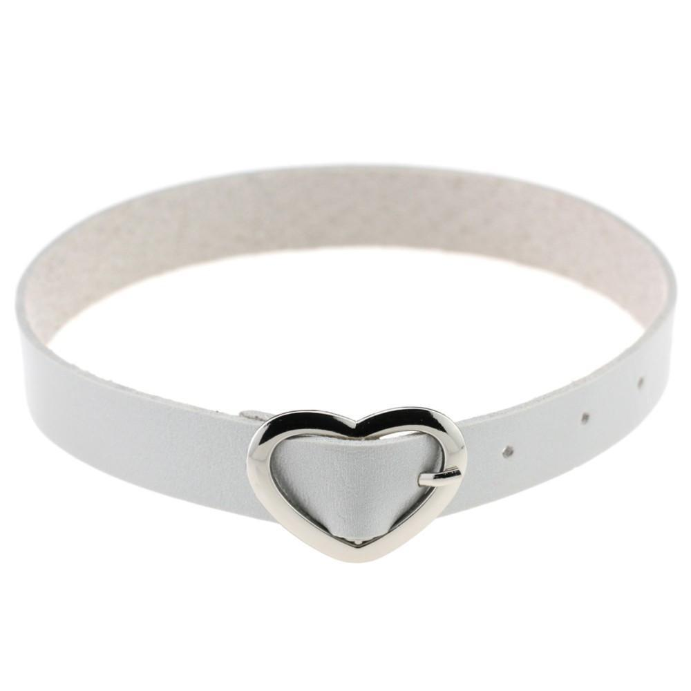 itGirl Shop LEATHER HEART BUCKLE BELT CHOKER