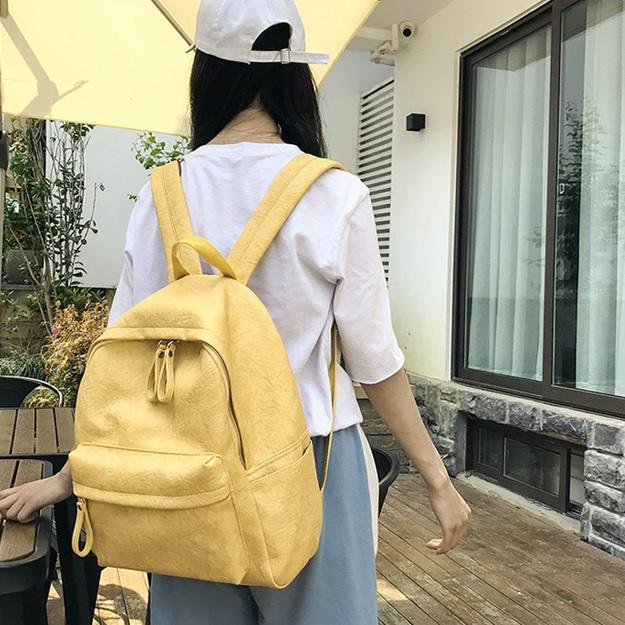 itGirl Shop LEATHER MINIMALISTIC ZIPPER COLLEGE STYLE BACKPACK