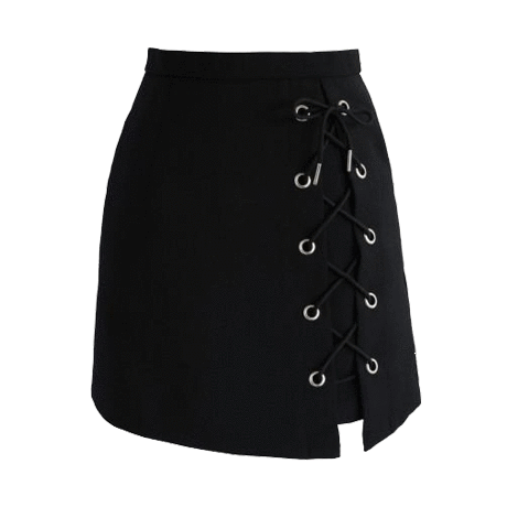 itGirl Shop LEFT SIDE LACE UP BLACK SKIRT