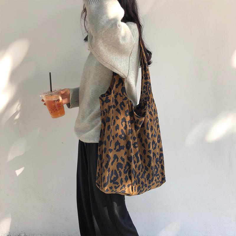 itGirl Shop LEOPARD ANIMAL PRINT CANVAS BAG