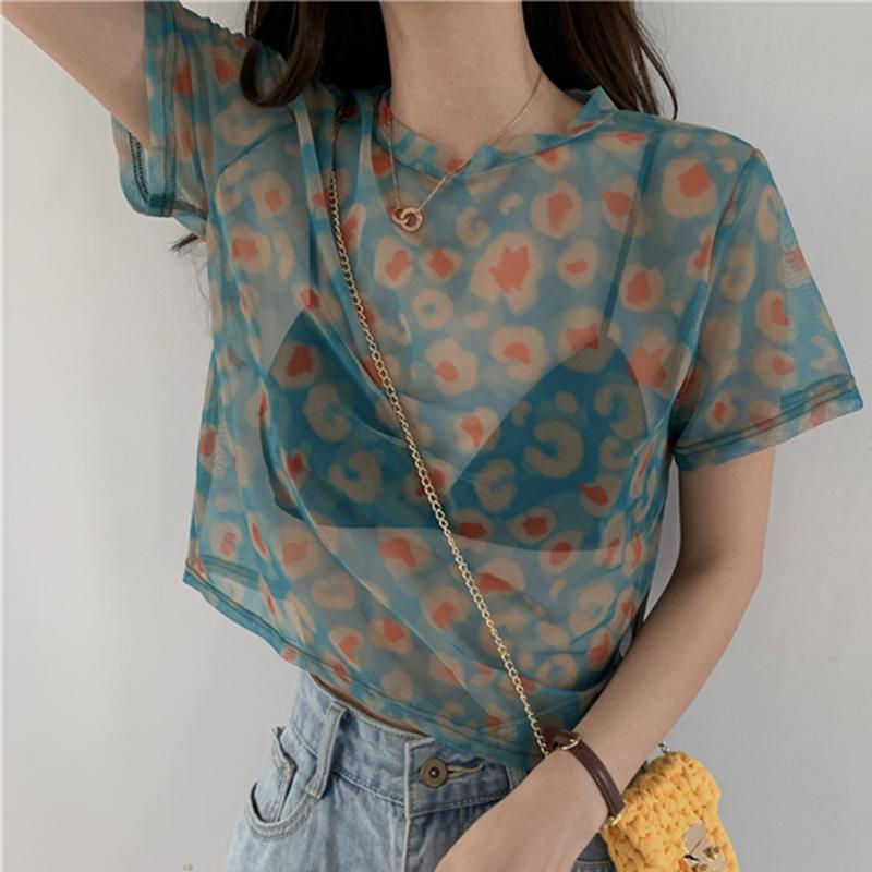 itGirl Shop LEOPARD PRINT COLORFUL TRANSPARENT THIN SHIRT