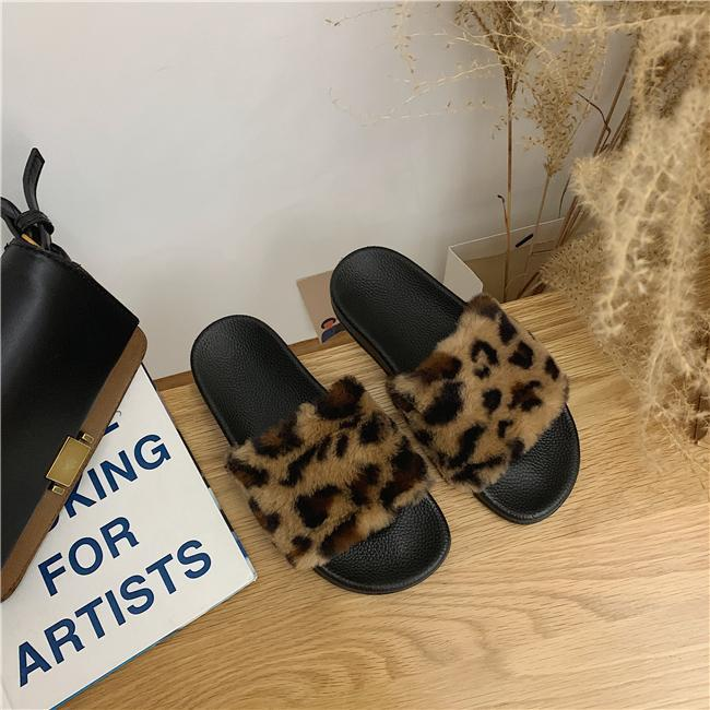 itGirl Shop LEOPARD PRINT FAUX FUR BLACK FLAT SOLE SLIPPER SANDALS