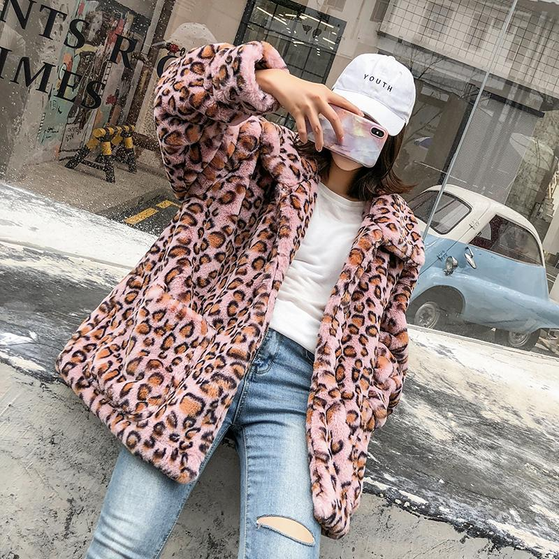 itGirl Shop LEOPARD PRINT WARM PLUSH OUTWEAR JACKET