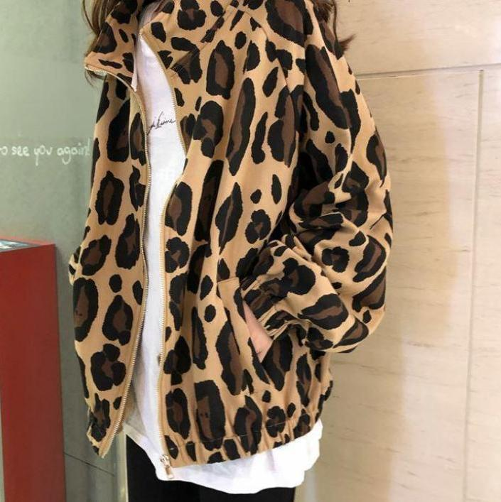 itGirl Shop LEOPARD PRINT WINDBREAKER SPORTY ZIPPER JACKET