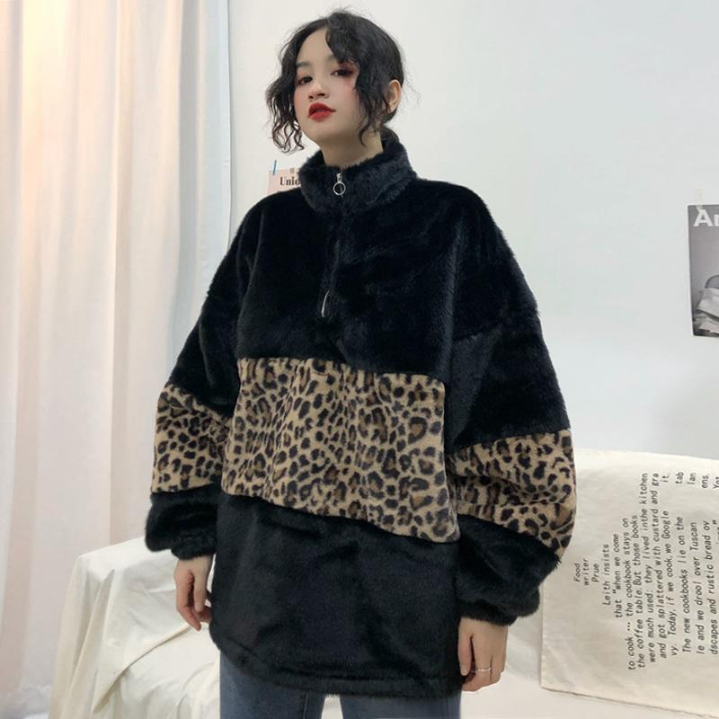 itGirl Shop LEOPARD STITCHING ZIPPER HIGH COLLAR FLUFFY JACKET