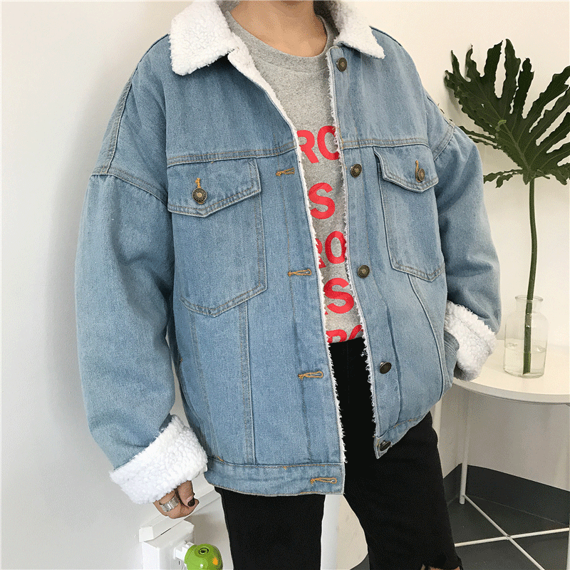 itGirl Shop LIGHT BLUE FAUX LAMB WHITE FLUFFY COLLAR BUTTONS OUTWEAR JACKET