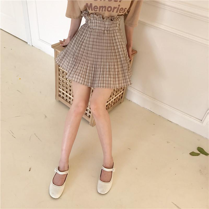 itGirl Shop LIGHT PLAID VOLUME WAIST LINE ABOVE KNEE SUMMER SKIRT