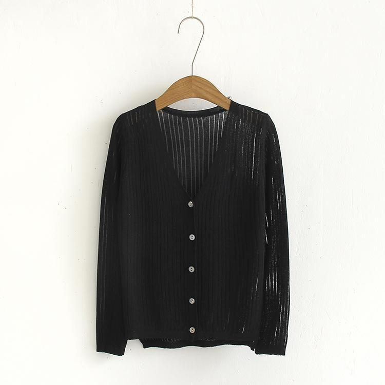 LIGHT SOFT SUMMER V NECK BUTTONS KNIT CARDIGANS
