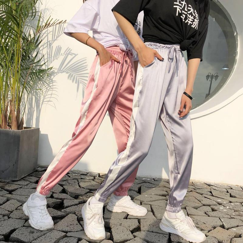 itGirl Shop LIGHT SUMMER SATIN PASTEL COLOURS THICK SIDE SPORT LINE ELASTIC PANTS