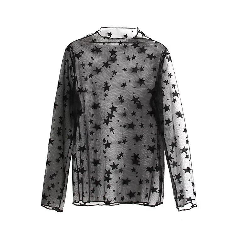 itGirl Shop LIGHT TRANSPARENT GAUZE LONG SLEEVE DOTS STARS