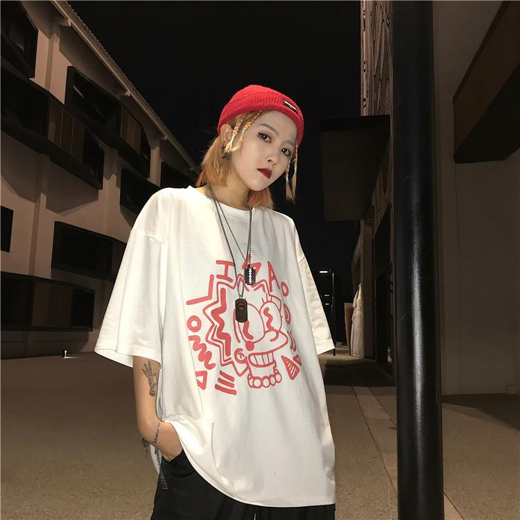 itGirl Shop LISA SIMPSON CARTOON PRINT OVERSIZED WHITE T-SHIRT