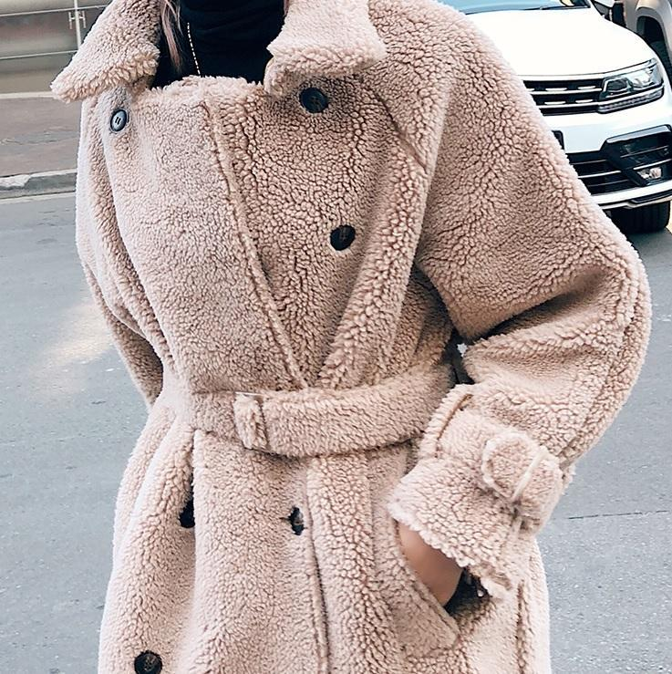 itGirl Shop LONG BEIGE FLUFFY FUR WAIST BELT COAT