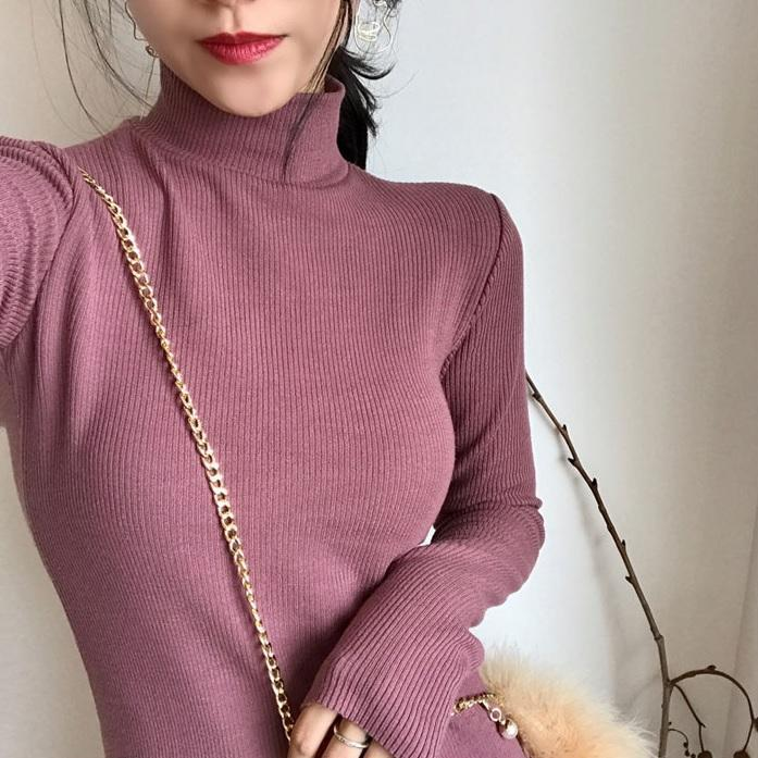 itGirl Shop LONG COTTON KNIT HIGH NECK LONG SLEEVE BEIGE ROSE PINK DRESS