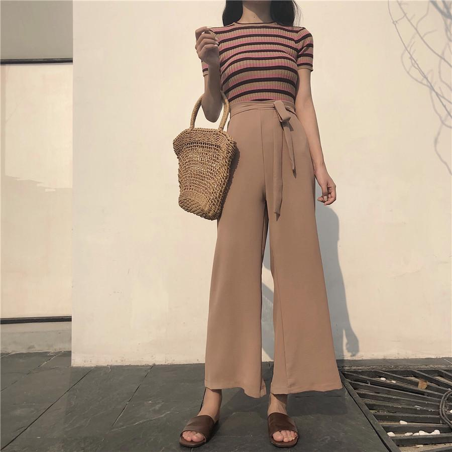 itGirl Shop LONG FLARED CHIFFON BLACK BEIGE WAIST BELT OVERSIZED PANTS