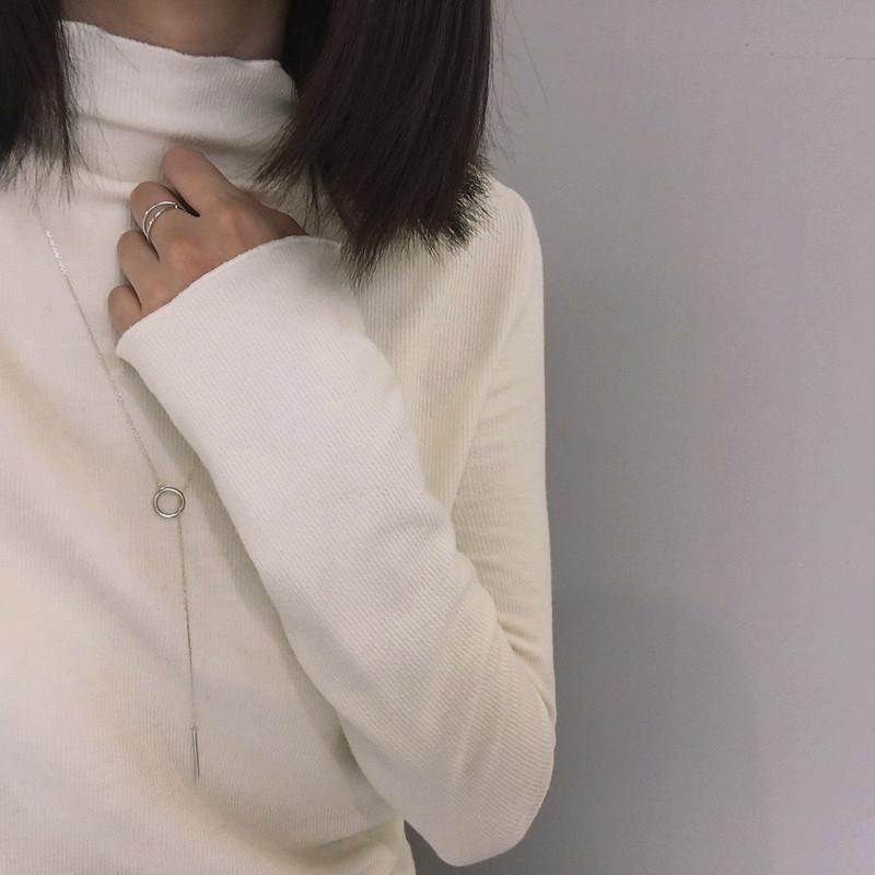 itGirl Shop LONG SLEEVE COTTON WAVY NECK SLIM BLOUSE Aesthetic Apparel, Tumblr Clothes, Soft Grunge, Pastel goth, Harajuku fashion. Korean and Japan Style looks