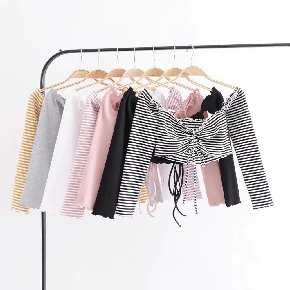 itGirl Shop LONG SLEEVE CROP SUMMER STRIPES BUST RIBBON LACE TOP