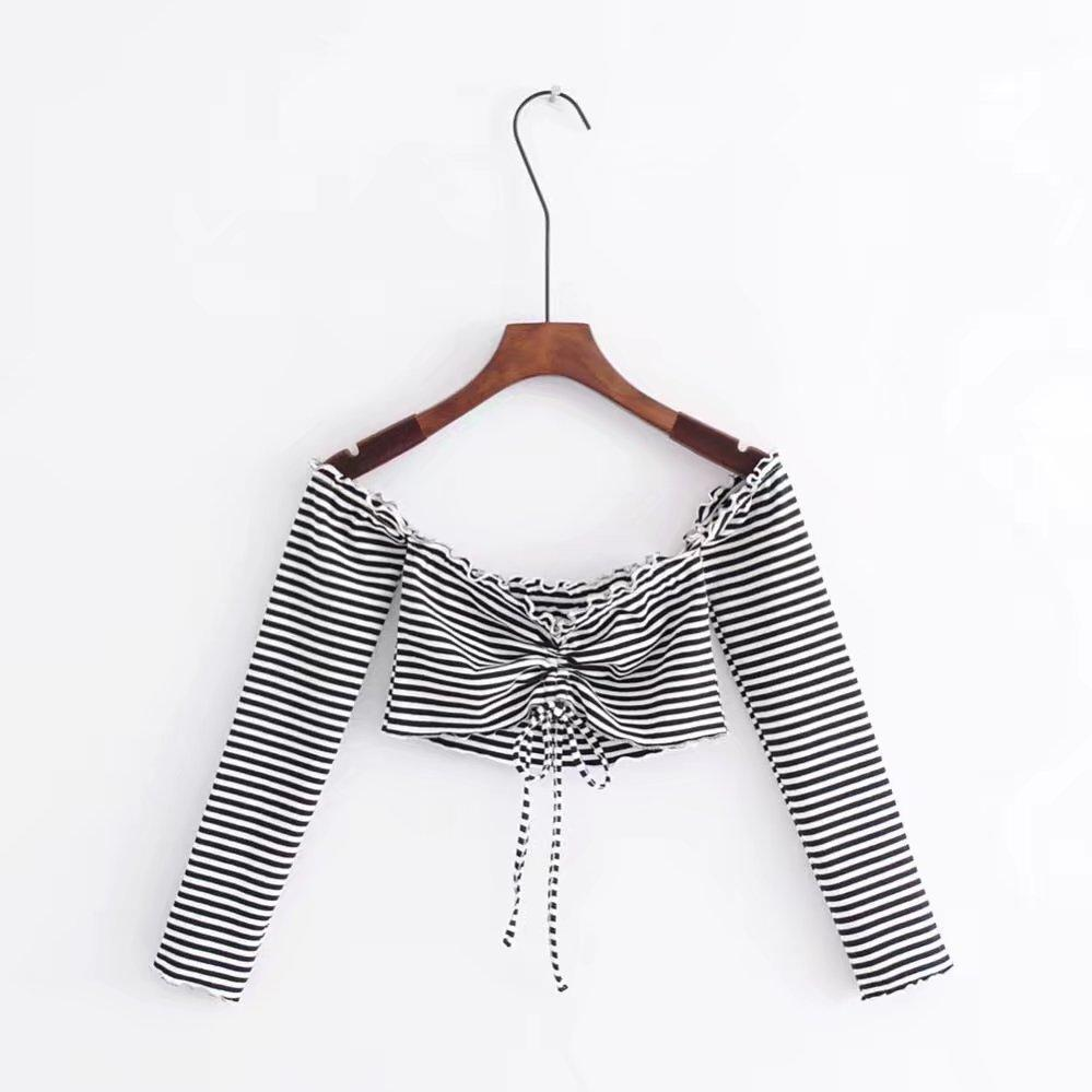 LONG SLEEVE CROP SUMMER STRIPES BUST RIBBON LACE TOP