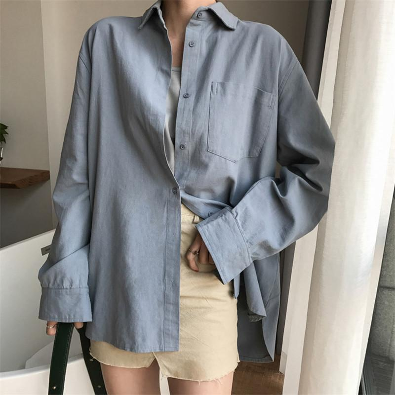 itGirl Shop LONG SLEEVE FRONT BUTTONS OVERSIZED LINEN COTTON SHIRT