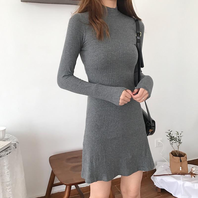 itGirl Shop LONG SLEEVE KNIT COTTON GRAY SLIM ABOVE KNEE DRESS