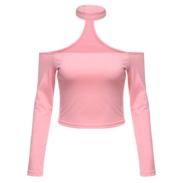 itGirl Shop LONG SLEEVE OPEN SHOULDERS CHOKER TOP