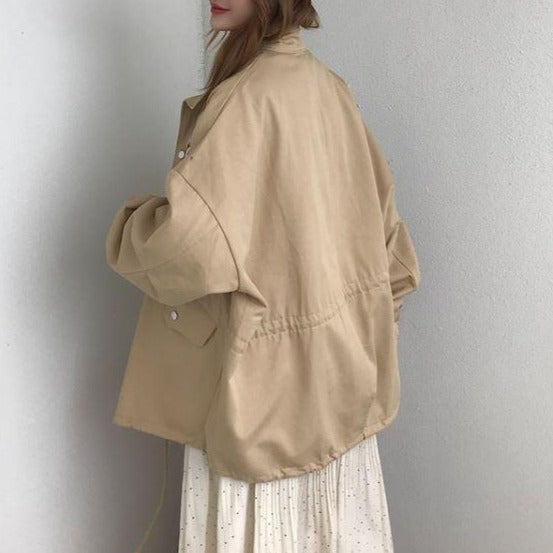 itGirl Shop LONG WINDBREAKER ELASTIC WAIST CAMEL JACKET