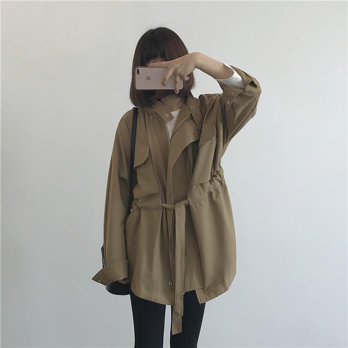 itGirl Shop LOOSE BELTED FRONT POCKETS SNAP-BUTTONS SHORT TRENCH COAT