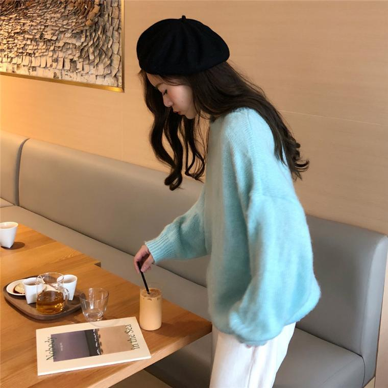 LOOSE CANDY COLORS PULLOVER FLUFFY RIBBED SWEATER