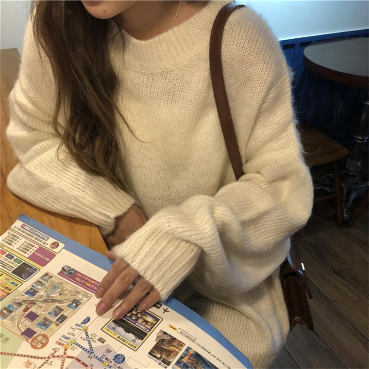 itGirl Shop LOOSE CANDY COLORS PULLOVER FLUFFY RIBBED SWEATER