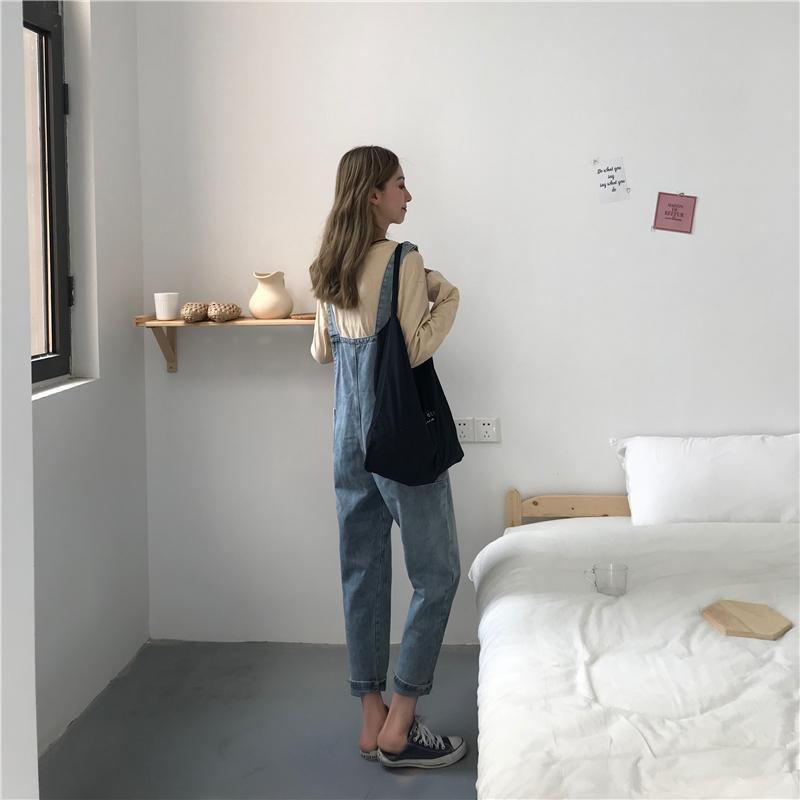 itGirl Shop LOOSE DENIM SIDE POCKET RETRO BLUE JUMPSUIT