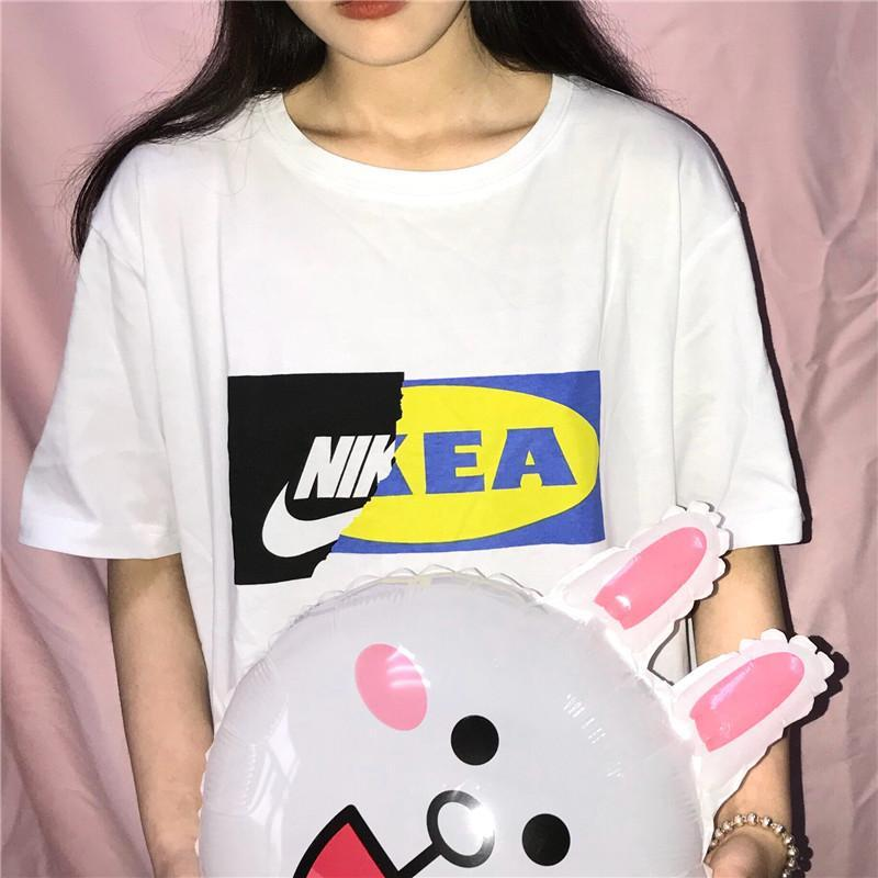LOOSE FUNNY BRANDS PRINT ROUND NECK WHITE T-SHIRT