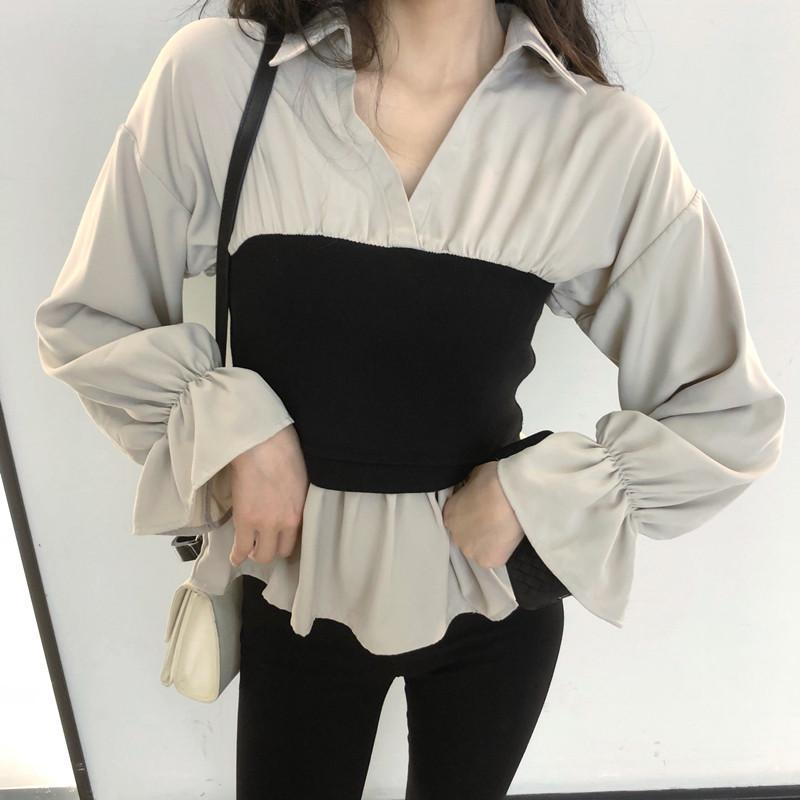 itGirl Shop LOOSE SLEEVES CREAMY WHITE WAIST BLACK TUBE TOP SHIRT