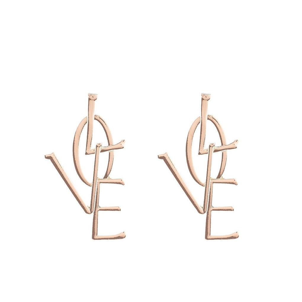 itGirl Shop LOVE GOLDEN SILVER METALLIC LETTERS WORD EARRINGS