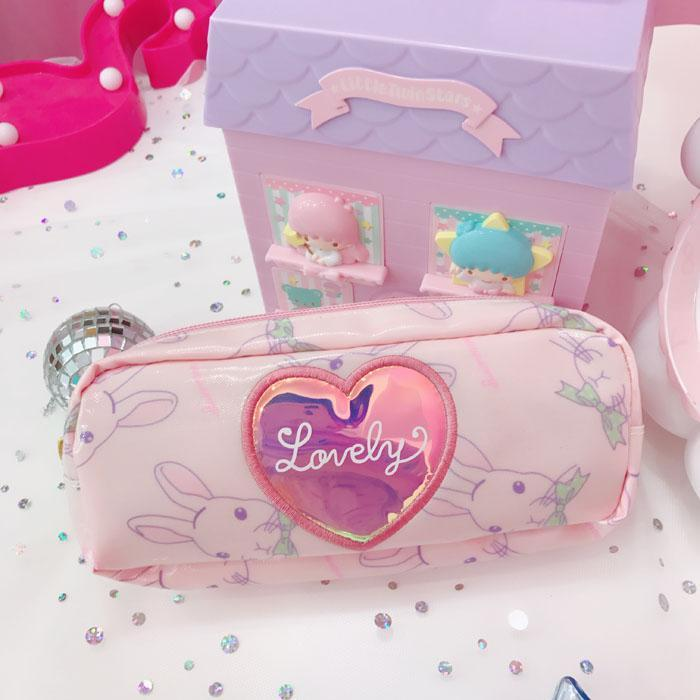 itGirl Shop LOVELY BUNNY LASER HEART ZIPPER COSMETICS STATIONARY PURSE BAG