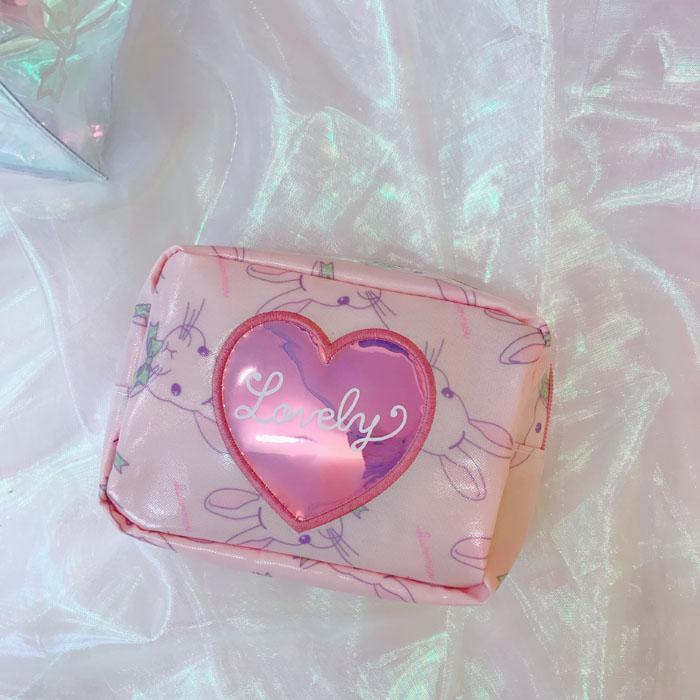 itGirl Shop LOVELY BUNNY LASER HEART ZIPPER COSMETICS STATIONARY PURSE BAG Aesthetic Apparel, Tumblr Clothes, Soft Grunge, Pastel goth, Harajuku fashion. Korean and Japan Style looks