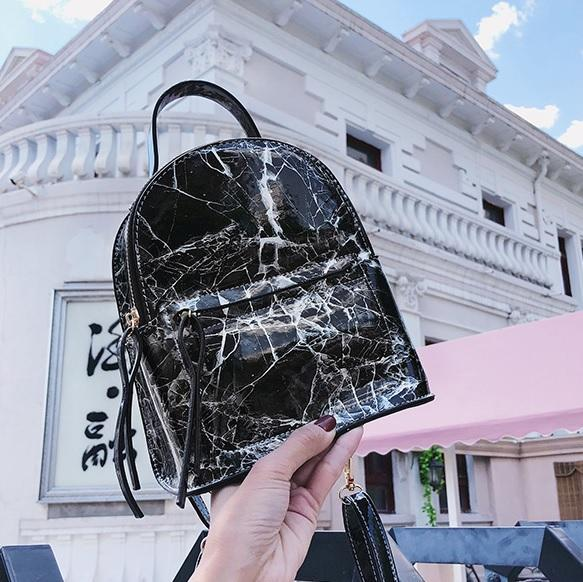 itGirl Shop MARBLE PATTERN LEATHER ZIPPER FASHION BACKPACK