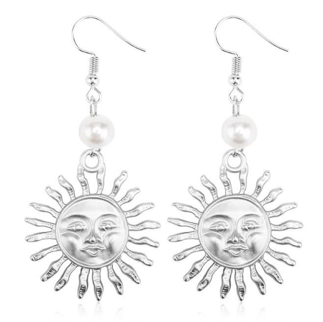 itGirl Shop MATHILDA GOLD SILVER SUN PEARL BEAN EARRINGS