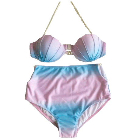 itGirl Shop MERMAID GRADIENT HIGH WAIST PEARL SWIMSUIT