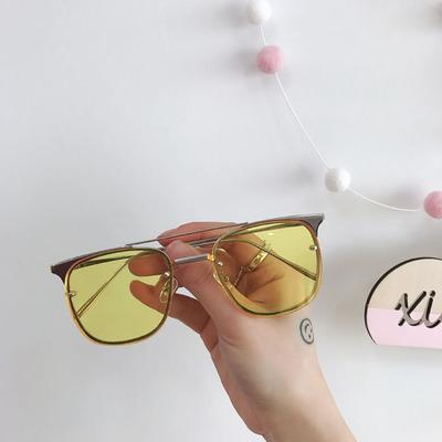 itGirl Shop METALLIC FRAME COLORFUL SQUARE AVIATOR SUNGLASSES